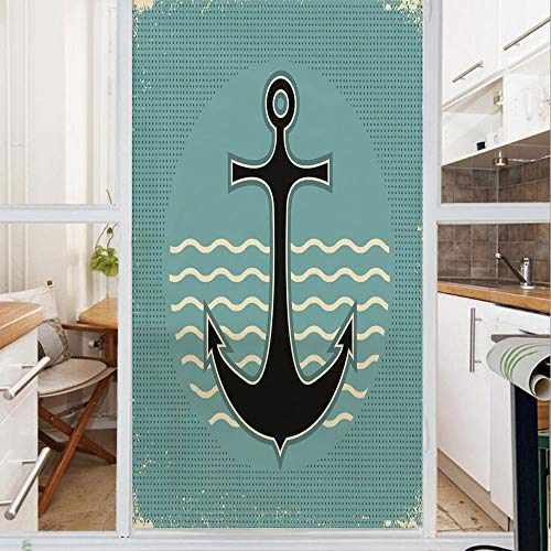 Decorative Window Film,No Glue Frosted Privacy Film,Stained Glass Door Film,Vintage Style Anchor Design with Wave Water Color Antique Nostalgic Sea Sign,for Home & Office,23.6In. by 35.4In Teal Black