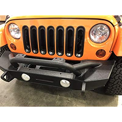 Red Hound Auto 7 Front Grille Inserts Guard 2007-2020 Compatible with Jeep Wrangler JK and Unlimited Black Grill Trim Cover: Automotive