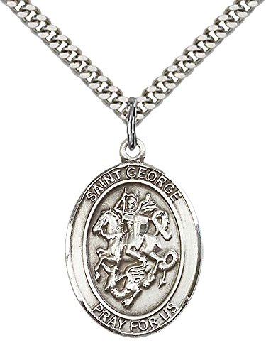 - F A Dumont Sterling Silver St. George Pendant with 24