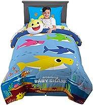 Franco - Juego de Cama para niños con edredón Supersuave con sábanas y Almohada de Peluche, Baby Shark, 5 Piece Twin Size, 1