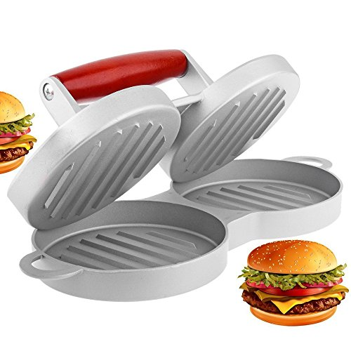 Burger Press WeHome Double Holes Aluminum No-stick Coating Hamburger Patty Maker Kitchen Tool (2 slot) - Double Burger Press