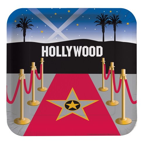 Creative Converting Reel Hollywood Square Dinner Plates,