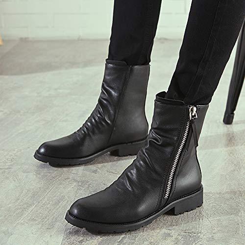 Shukun Herren Stiefel Men's High Stiefel Winter Increased Leather Stiefel Pointed Leather schuhe Cotton Non-Slip Martin Stiefel