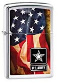 Zippo US Army American Flag High Polish Pocket Lighter, Chrome offers