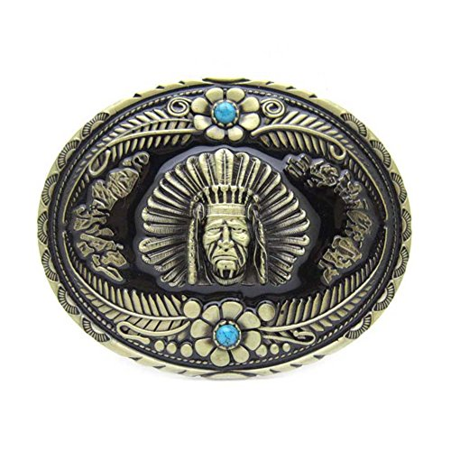 Native Indian Chief Head Turquoise Belt Buckle Flower Floral for Western Cowboy
