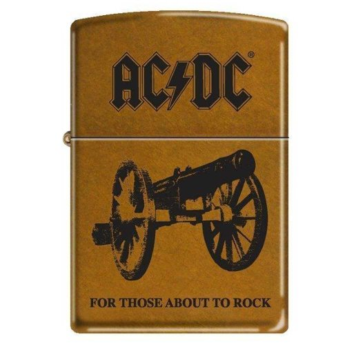 Zippo 7669 Classic Toffee Finish AC/DC Cannon For Those About to Rock Lighter with Zippo Brown Leather Clip Pouch by Zippo (Image #1)