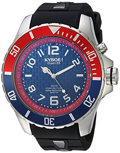 KYBOE! 'Power' Quartz Stainless Steel and Silicone Casual Watch, Color:Black (Model: KY.55-007.15)