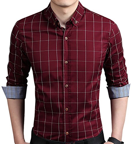 Aiyino Men's 100% Cotton Long Sleeve Plaid Slim Fit Button Down Dress Shirt US M Wine Red