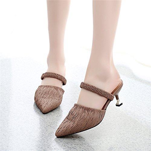 solo GTVERNH femmina gatto hollow scarpe semi le scarpe con sandali elastico con cachi multa il trentotto una estate parola gqgxXwrz