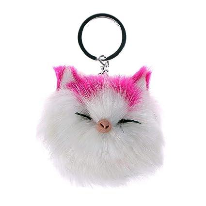 GOOTRADES - Llavero con pompón de Gato Sonriente, diseño de ...