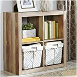 Better Homes and Gardens Bookshelf Square Storage Cabinet 4-Cube Organizer (Weathered)