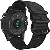 26mm Sport Nylon Replacement Watch Band Strap with Screw Tools for Garmin Fenix 5X/3/3 HR/D2 Charlie-black