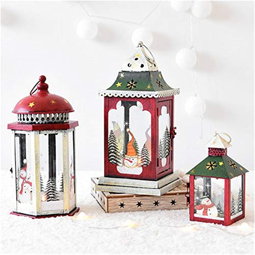 Santa Candle Glass Christmas Candle Holder Iron Lantern Santa Cage Decorativewindproof Candle Holder Ornaments Christmas Lights X6t006
