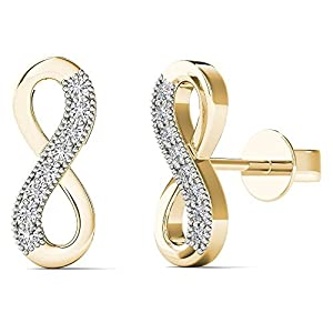 JewelAngel Women's 10K Yellow Gold Diamond Accent Infinity Stud Earrings (H I, I1 I2)