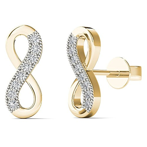 JewelAngel Women's 10K Yellow Gold Diamond Accent Infinity Stud Earrings (H I, I1 I2)