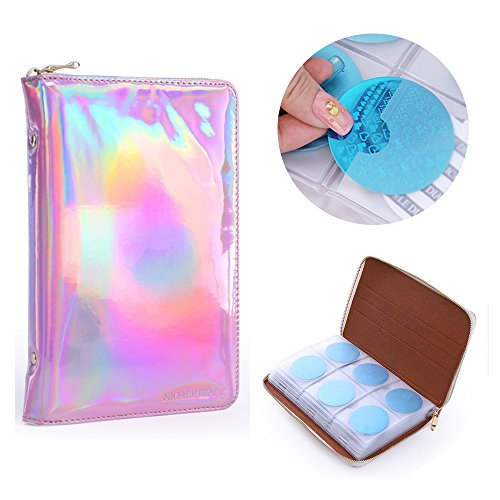 NICOLE DIARY 72 Slots Nail Stamping Plate Case Holographic Nail Art Image Holder Stamp Templates Organizer Square & Round Plates Collection Manicure Tool Accessories (Pink)