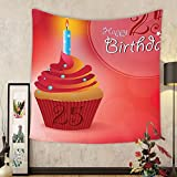 Gzhihine Custom tapestry 25th Birthday Decorations Tapestry Fun Celebration Greeting Card Inspired with Number Text Label for Bedroom Living Room Dorm 60 W X 40 L Multicolor