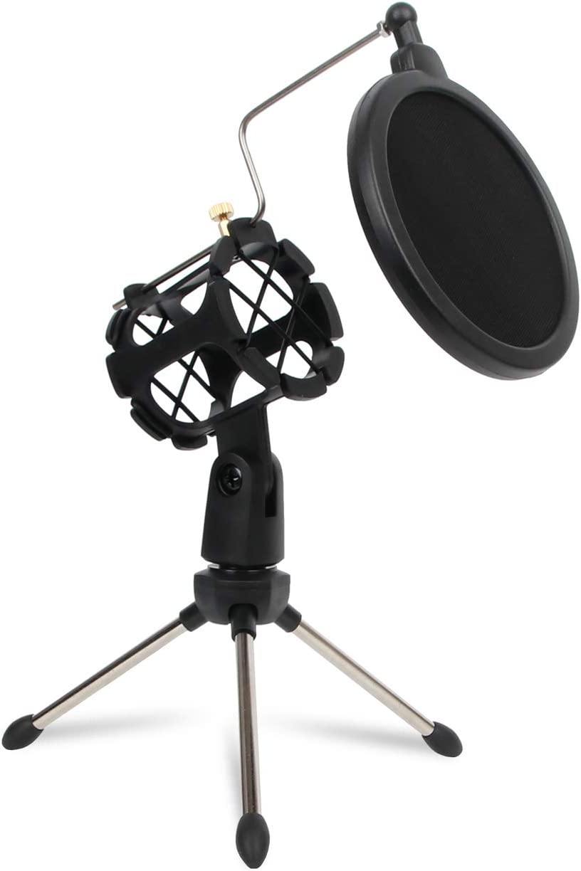 Depusheng Microphone Tripod Stand Foldable Desktop Microphone Bracket with Shock Mount Mic Holder Clip and Pop Filter