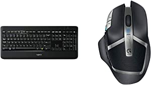 Logitech K800 Wireless Illuminated Keyboard — Backlit Keyboard, Fast-Charging, Dropout-Free 2.4GHz Connection & G602 Lag-Free Wireless Gaming Mouse – 11 Programmable Buttons, Up to 2500 DPI