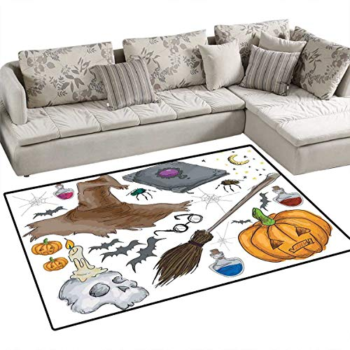 Halloween Anti-Skid Rugs Magic Spells Witch Craft Objects Doodle Style Illustration Grunge Design Skull Girls Rooms Kids Rooms Nursery Decor Mats 48