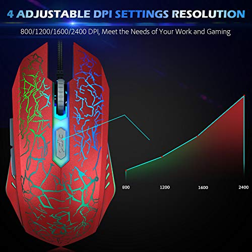 VersionTECH.RGB Gaming Mouse,Ergonomic USB Wired Optical Mouse Mice with 7 Color