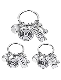 Fitness Gym Keyring with Quotes Weight plate Dumbbell Kettlebell Charms Keychain Sports Fitness Jewelry 3Pcs Set