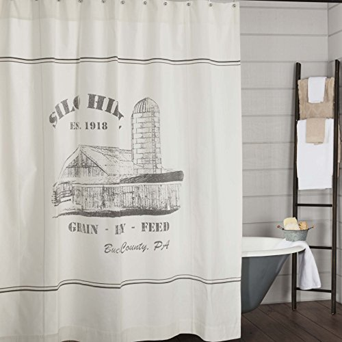 Piper Classics Silo Hill Shower Curtain, 72x72, Farmhouse Style Bathroom Décor, Printed Off White -