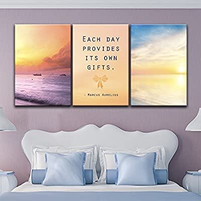 Beautiful Expert Craftsmanship, Classic Design, 3 Panel Seascape at Sunset Time with Inspirational Quotes x 3 Panels