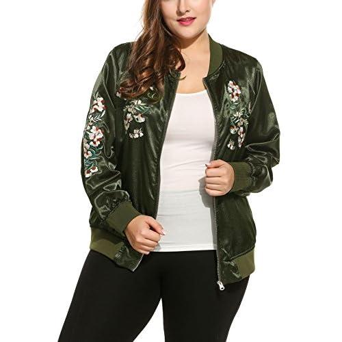 cf674da6425 on sale Beyove Women s Embroidered Floral Phenix Plus Size Vintage Casual  Bomber Jacket