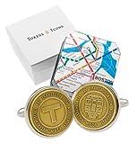 Tokens & Icons Transit Token Sterling Silver Settings Cufflinks (55-TRANSIT-P)