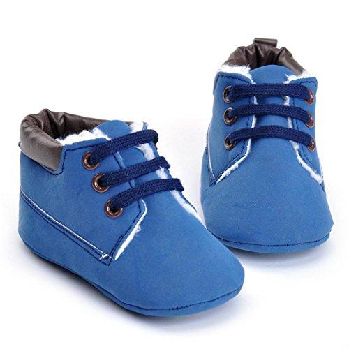 Tefamore zapatos bebes sneaker de primeros pasos de antideslizante de sole suave de moda invierno de calentar y el algodón Azul