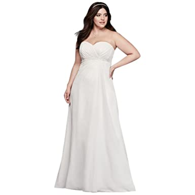 Plus Size A-Line Wedding Dress With Beaded Waist Style 9OP1301, Soft ...