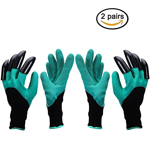 Garden Genie Gloves, SnowCinda 2 Pairs Gardening Gloves Left and Right Claws for Digging & Planting, Left Right Handy Friendly by SnowCinda