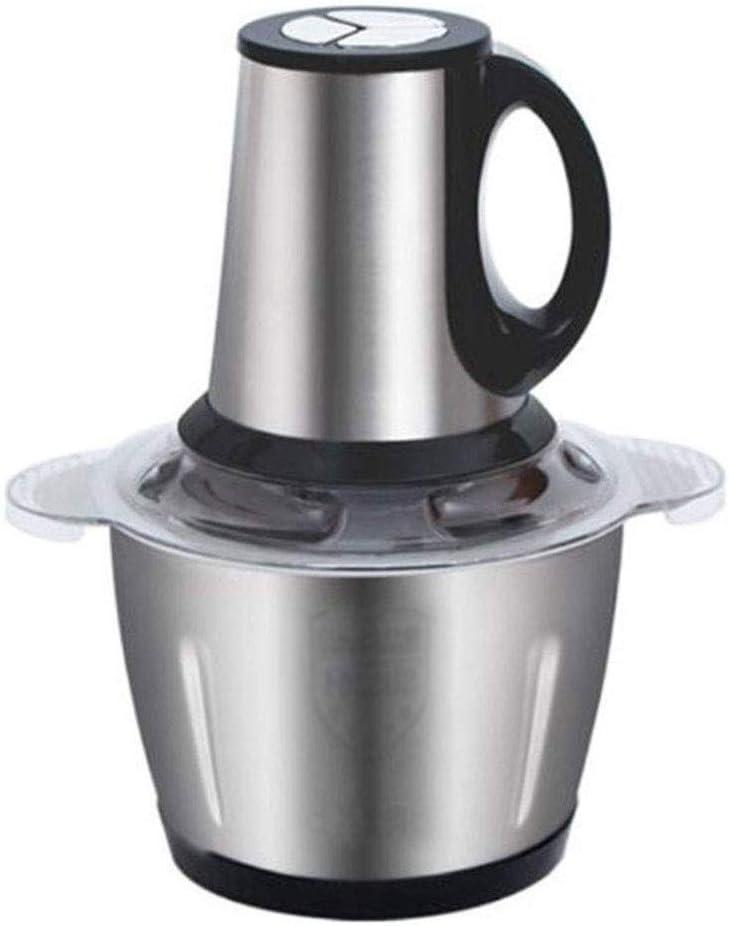 CMmin Robot de Cocina eléctrica, máquina de Cortar de múltiples Funciones de la Alimentación, 3L Acero Inoxidable Mini Food Chopper, for la Carne de Las Frutas de 4 Debido a Sus Hojas,