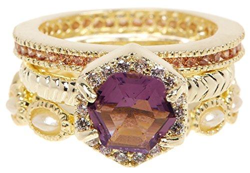 Lavender Quartz & Simulated Diamonds 18k Gold Clad Wholesale Gemstone Fashion Jewelry Stackable Ring Set (6) Lavender Stone Set