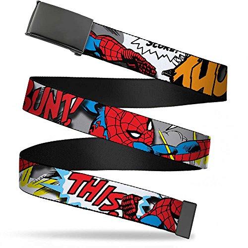 Buckle-Down Big Web Belt Spider-Man1.0, Man w/Action Verbiage, 1.0