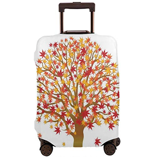Travel Luggage Cover,Fall Season Maple Tree With Foliage In Warm Colors Romantic Nature Suitcase Protector