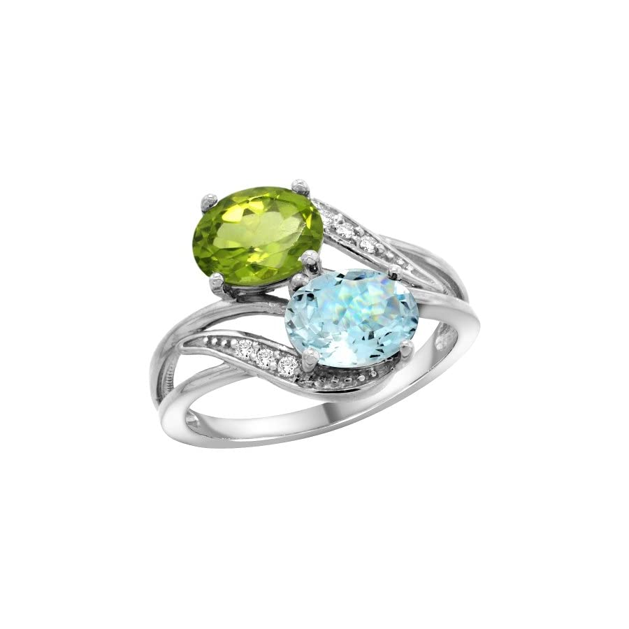 10K White Gold Diamond Natural Peridot & Aquamarine 2 stone Ring Oval 8x6mm, sizes 5 10