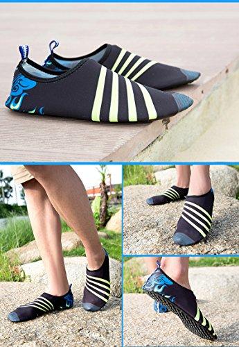 Humasol Hommes Femmes Léger À Séchage Rapide Aqua Chaussures Multifonctionnel Eau Chaussettes Pour Nager Plage Piscine Stripe-noir