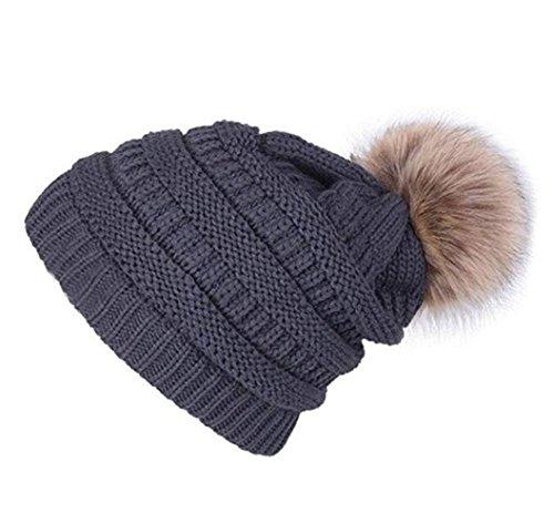 88ec4092e9878d Jiuhexu Womens Winter Warm Slouchy Knit Beanie Chunky Faux Fur Pom Poms Hat  Bobble Hat (