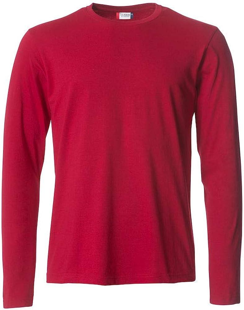 T-Shirt Uomo Maglia Maglietta Cotone Manica Lunga Clique Basic-T L//S Maniche Lunghe
