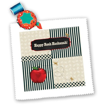 qs_167277_4 Beverly Turner Jewish Holiday Design - Rosh Hashanah, Red Apple, Gold Bees, Stripes, Dots, and Leaves - Quilt Squares - 12x12 inch quilt square