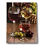 wine and grape art - BANBERRY DESIGNS Wine Decor Wall Art with LED Lights - Canvas Print - Wine Glasses with Wine Bottle and Grapes Picture - 16x12 Inch