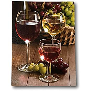 35eabf615 BANBERRY DESIGNS Wine Decor Wall Art with LED Lights - Canvas Print - Wine  Glasses with Wine Bottle and Grapes Picture - 16x12 Inch