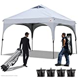 ABCCANOPY Pop Up Canopy Beach Canopy 10'x10'Better Air Circulation Canopy With Wheeled Backpack Carry Bag+4 x Sandbags, 4 x Ropes&4 x Stakes(Gray) For Sale