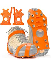 ZUXNZUX Crampons, Ice Cleats for Shoes and Boots, Stainless Steel Microspikes Shoe Grippers 11 Spikes Grips for Ice and Snow, Suitable for Climbing, Ice Fishing, Hiking