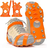 ZUXNZUX Crampons, Ice Cleats for Shoes and Boots, Stainless Steel Microspikes Shoe Grippers 11 Spikes Grips fo