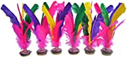 Baitaihem 6 Pack Kick Shuttlecock Chinese Jianzi Colorful Feather Foot Sports Outdoor Toy Game