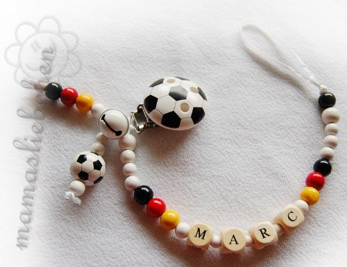 Personalized pacifier clip with wooden letter beads model 1090, handmade by mamasliebchen
