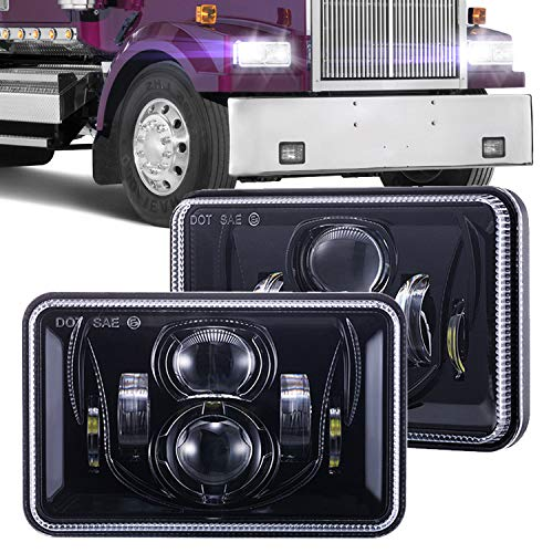 - 1 Pair 4x6 Inch LED Headlights 60W High Low Beam Rectangle Replacement H4651 H4652 H4656 H4666 H6545 Projector lens for Peterbil Kenworth Freightinger Ford Probe Chevrolet Oldsmobile Cutlass - Black